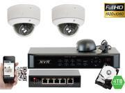 GW 4 Channel 1080P NVR Kit PoE HD IP Security Camera System 2x Max 5 Megapixel 2.8~12mm Varifocal Lens 65 Feet Night Vision Water Proof Motion Detective QR-Code Scan Remote Smartphone View (4TB HDD)