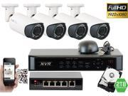 GW 4 Channel 1080P NVR Kit PoE HD IP Security Camera System 4x Max 5 Megapixel 2.8~12mm Varifocal Lens 80 Feet Night Vision Water Proof Motion Detective QR-Code Scan Remote Smartphone View (2TB HDD)