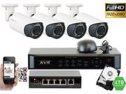 GW 4 Channel 1080P NVR Kit PoE HD IP Security Camera System 4x Max 5 Megapixel 2.8~12mm Varifocal Lens 80 Feet Night Vision Water Proof Motion Detective QR-Code Scan Remote Smartphone View (4TB HDD)