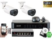 GW 4 Channel 1080P NVR Kit PoE HD IP Security Camera System 2x Max 5 Megapixel 2.8~12mm Varifocal Lens 80 Feet Night Vision Water Proof Motion Detective QR-Code Scan Remote Smartphone View (2TB HDD)
