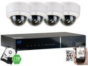 GW 4CH Full HD 1080P Security System Realtime Motion Detect DVR Kit, 4 x 2.1 Megapixel Water Proof Varifocal Lens Dome Security Camera, Cables Included, Easy QR-Code Scan Smartphone View (1TB HDD)