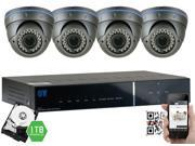GW Security 2.1 Megapixel HD-TVI 1080P Complete Security System | (4) x 2.1MP HDTVI (True HD 1080P @30fps) Weather Proof Security Cameras, 4-Channel Plug and Play DVR, 1TB Pre-Installed Hard Drive