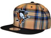 Pittsburgh Penguins Mitchell & Ness Gold Blue Plaid Structured Snapback Hat Cap