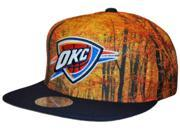 Oklahoma City Thunder Mitchell & Ness Orange Foliage Flat Bill Snapback Hat Cap