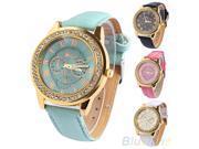 Women's Geneva Roman Numerals Faux Leather Rhinestone Golden Quartz Wrist Watch