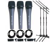Sennheiser e 835 Dynamic Vocal Mic (3-PACK) with Stands & Cables Bundle