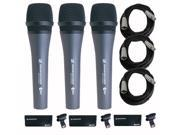Sennheiser e 835 Handheld Dynamic Vocal Microphone (3-Pack) with Cables