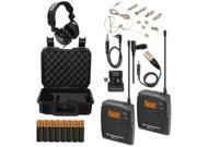Sennheiser EW-112P G3 (A-Band) Lavalier with Headset Mic Headphones & Batteries Bundle