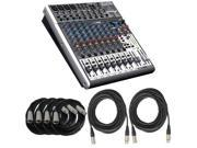 Behringer XENYX X1622USB Mixer/Interface with (2) 50 ft. & (4) 20 ft. XLR Cables