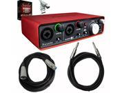 Focusrite Scarlett 2i2 USB Audio Interface with Plugin Suite and Cables Bundle