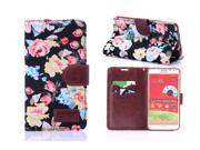 Apexel Calico Pattern Magnetic Leather Wallet Purse Protective Cover Case Skin with Card Slot for Samsung Note 3 Neo N7505 Black