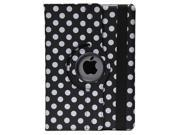Apexel Polka Dot 360 Degree Rotating Full Body Stand  Leather Case for iPad Air (iPad5, 5th Generation) - Black
