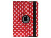 Apexel Polka Dot 360 Degree Rotating Full Body Stand  Leather Case for iPad Air (iPad5, 5th Generation) - Red