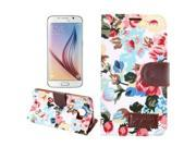 Apexel Floral Pattern Magnetic Wallet Flip Cover Case for Samsung Galaxy S6- WHITE