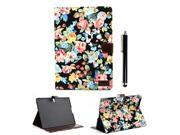 Apexel Fashion Flower PU Leather Case Cover with Card Slot for Samsung Galaxy Tab S 10.5 T800 T801 T805 with Touch Pen Black
