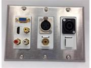 CERTICABLE TRIPLE GANG WALL PLATE 1-VGA 1-HDMI 1-3.5mm 1-SPEAKON 1-XLR 3-RCA