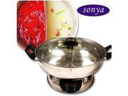 Sonya SYHS-30 Shabu Shabu Electric Hot Pot 30CM Stainless Pot - 2 Division