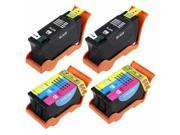 4-PACK Compatible Dell (Series 21) Ink Cartridges for Dell All-In-One V715w,V515w,V313w,V313,P713w,P513w Printer - Black Y498D (GRMC3) + Color Y499D (XG8R3)
