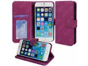 For Apple iPhone 6 (4.7 inch) - Luxury Purple Folio Wallet-Style PU Leather Case Hard Flip Cover, Stand, Magnetic Snap Closure, ID and Credit/Payment Card Slots