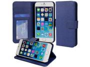 for Apple iPhone 6 Plus (5.5 inch) - Luxury Blue Folio Wallet-Style PU Leather Case Hard Flip Cover, Stand, Magnetic Snap Closure, ID and Credit/Payment Card Slots