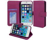 for Apple iPhone 6 Plus (5.5 inch) - Luxury Purple Folio Wallet-Style PU Leather Case Hard Flip Cover, Stand, Magnetic Snap Closure, ID and Credit/Payment Card Slots