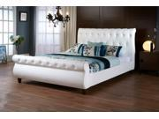 Baxton Studio Ashenhurst White Modern Sleigh Bed with Upholstered Headboard - Full Size
