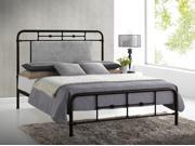 Baxton Studio  Nashville Full Size Antique Bronze Metal Platform Bed with Upholstered Headboard