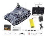 Heng Long German Panzerkampfwagen III 4 CH 1:16 Scale RC Battle Tank w/ Smoke, Sound and Lighting - Gray