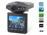 """2.5"""" TFT LCD Screen Car Recorder with 6 LED Night Vision Lights Car Accessories (Black)"""
