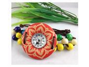 Fashion Round Dial Hand-woven Quartz Watch (Assorted Colors) , Red