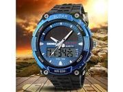 Men's Solar Powered Multifunctional Dual Time Zones Rubber Band Sporty Wrist Watch , White