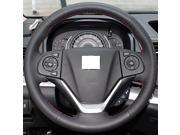 XuJi ™ Black Genuine Leather Steering Wheel Cover for Honda CRV CR-V 2012 2013 , Red