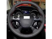 XuJi ™ Black Genuine Leather Steering Wheel Cover for 2012 2013 Ford Focus 3 Ford KUGA , Black