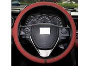 XuJi ™ Universal Ultra-thin Red Genuine Cowhide Leather Steering Wheel Cover