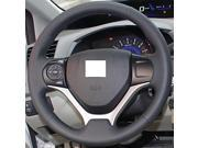 XuJi ™ Black Genuine Leather Steering Wheel Cover for Honda Civic 2012 2013 2014 Civic 9 , Black