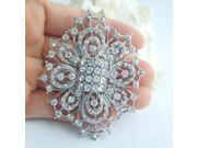 Women's Vintage Alloy With Clear Rhinestone Crystal Flower Bridal Brooch Bouquet Wedding Jewelry , White