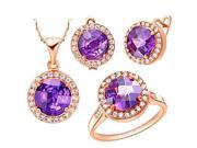 Round Multicolor Cubic Zirconia (Necklaces&Earrings&Rings) Wedding Jewelry Sets , Red