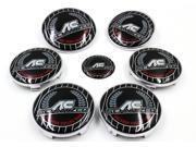 BMW Emblem Set Hood Trunk 82mm/73mm pins back + Steering Wheel Sticker + Hub Caps 7 psc AC Colorful Logo