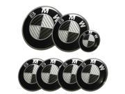 BMW Car Emblem Set Hood Trunk 82mm/73mm with 2 ack pins + 45mm Steering Wheel Sticker + 68mm Hub Caps 7 psc Black+Silver Carbon Fiber Logo