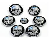 New Skull BMW Emblem Set Hood Trunk 82mm/73mm with pins back + 45mm Steering Wheel Sticker + Hub Caps (7pcs car logo)