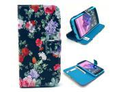 Flower Pattern PU Leather Full Body Case with Stand and Card Holder for LG Nexus 5 with Screen Protector