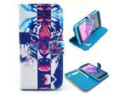 Cross Tiger Animal Pattern PU Leather Full Body Case with Stand and Card Holder for LG Nexus 5 with Screen Protector