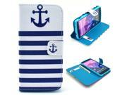 Anchor Striped Pattern PU Leather Full Body Case with Stand and Card Holder for LG Nexus 5 with Screen Protector