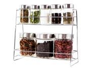 9 Pc Stainless Steel Glass Canisters Spice & Food Containers Set W/ Storage Rack