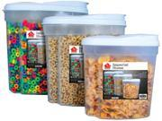 3 Pc Plastic Cereal Dispenser Set - Dry Foods Snack Storage Containers (White Lids)