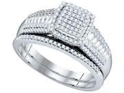 10K White Gold 0.40 Ctw Diamond Micro Pave Bridal Set Ring