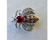 Platinum-Plated Swarovski Crystal Bumble Bee Pin/ Brooch (1/2 x 1) - Gift Boxed