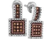 925 Sterling Silver  0.20 ctw Cognac Diamond Drop Earring