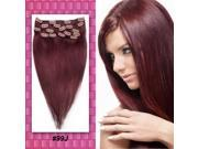 Red wine Full Head Clips in 100% Remy Real Human Hair Extensions Long Straight