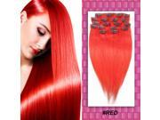 Red Full Head Clips in 100% Remy Real Human Hair Extensions Long Straight